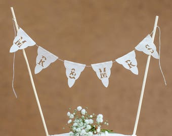 Mr & Mrs Wedding cake bunting topper - real fabric mini cake garland