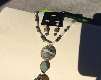 Handmade glass bead pendant necklace
