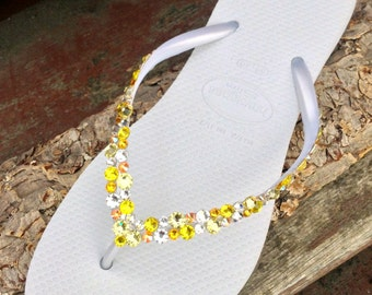Custom Havaianas Slim Flip Flop White w/ Swarovski Crystal Rhinestone Beach Sea Glass Slipper Wedding Shoe Bling Spring Yellow Jewels Bridal