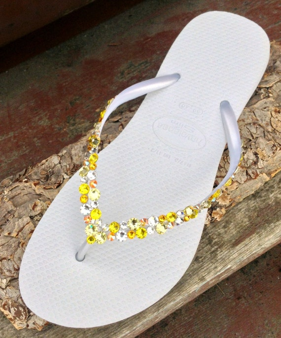 Yellow Havaianas Slim Flip Flops Custom w/ Swarovski Crystal Rhinestone Beach Sea Glass Slipper Wedding Shoe Bling Spring Jewels  Bridal