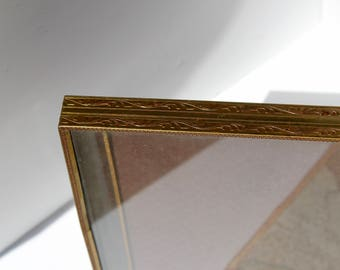 Vintage Gold Tone and Brown Marble Picture Frame with Red Velvet Back
