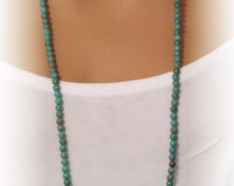 "Long Turquoise Necklace - Necklace in Photo is 51"" Long"