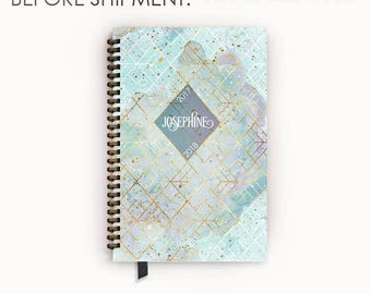 Personalized Planner 2017 - 2018 Calendar Agenda with Arctic Aqua and Gold Geometric Nebula Cover