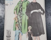 Vintage Vogue sewing pattern 5499 cocktail dress and swing duster coat bust 36 inches 91cm 1960s