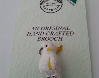 Cockatoo Pin Brooch Cobble Cast Austrailia Handcrafted Her Birthday Anniversary Christmas