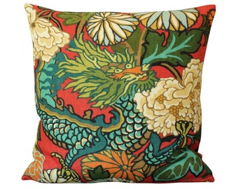 Schumacher Chiang Mai Dragon Pillow Cover in Red