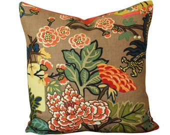 Schumacher Chiang Mai Dragon Pillow Cover in Mocha- Lanterns and Flowers