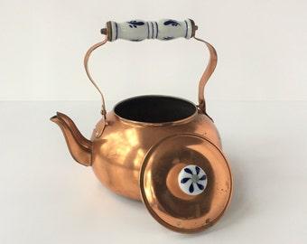 Vintage Copper Kettle With Porcelain Handle, Copper Tea Kettle With Delft Blue Ceramic Handle, Copper Teapot
