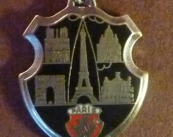 Large Vintage French Medalion Travel shield Souvenir  Paris  Eiffel Tower  Sacred heart   Arch of triumph Paris   Old Pendant  Medal Jewelry