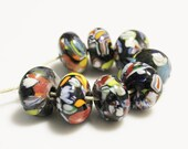 Colorful Rondelle Glass Beads made in India, Trade Beads, Unique Jewelry Supplies (AH42)