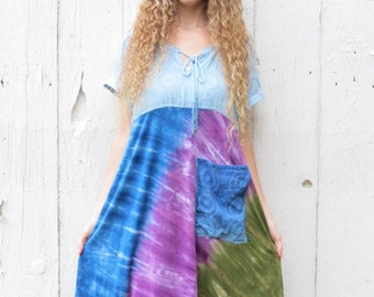 Half Off Clearance SALE, Tie Dye Dress, Bohemian Dress, Upcycled clothing, Free people inspired clothes, Boho Dress, Hippie Dress