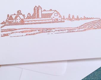 Embossed, FARM SCENE, Card, Handmade, Vintage Image, White, Folded Card, Envelope, Blank Inside, Choose Message, Copper