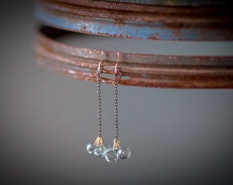 Gianna Earrings: Long oxidized sterling silver chain with trio of blue quartz briolettes wire wrapped in 14k gold filled wire