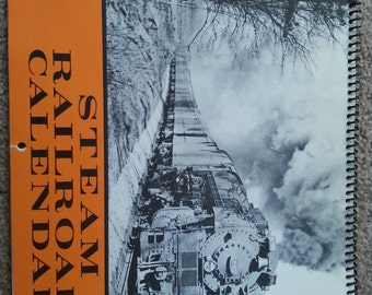 Original 1974 Steam Railroad calendar~ black & white photos ~ Duluth and Northeastern Railroad Southern Pacific Railroad