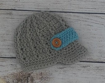 Crochet baby newsboy hat, baby boy hat, grey newsboy hat, newborn photo prop, newsboy hat, coming home outfit, brim hat, newborn boy,