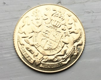 1977 Royal Silver Jubilee Gold Medallion, 9 carat gold Royalty Commemorative coin, Gold coin Elizabeth II gold coin, Royal Coat of Arms
