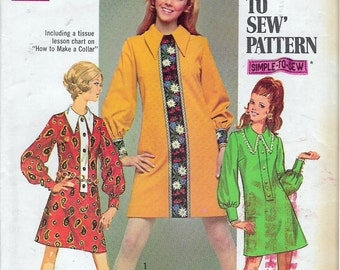"""Vintage 1969 Simplicity 8366 Mod Junior Petite Dress in Two Lengths Sewing Pattern Size 7 Bust 32"""""""""""