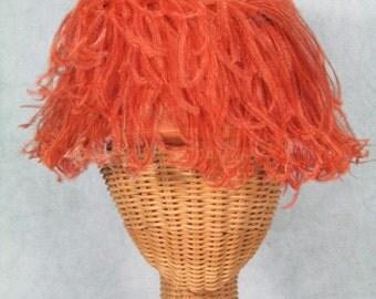 1960s Hat Orange Ostrich Feathers Helmet Hat by Christine