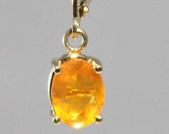 14K Yellow Gold Fire Opal Drop Earrings