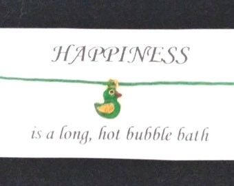 HAPPINESS friendship BRACELET on waxed cotton cord OR Silver Plated Key Ring Or Silver Plated Necklace Or lack Velveteen Choker