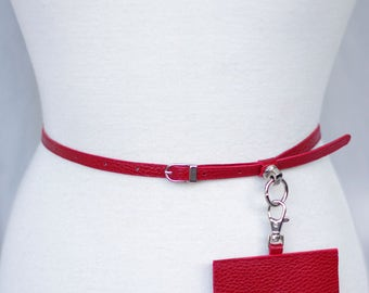 Red slim leather belt with pouch. Women's belt - waist belt - leather belt - belt bag - elegant belt - charm belt