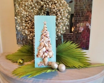 Coastal Christmas Shell Tree on Wood Plaque, Shell and Crushed Glass Beach Christmas Tree, Alternative Tree, Shell Art