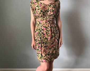 Vintage 60s Silk Floral Embellished Wiggle Dress