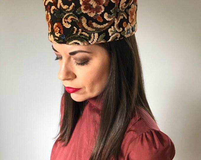 Vintage Carpet Tapestry Topper Hat