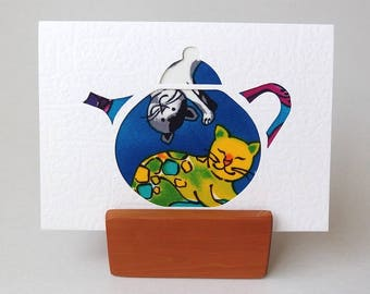 """CAT Greeting card TEAPOT shape.  6"""" x 4"""" with envelope. Blank textured white card. Cat fabric card. Cat lover greeting card"""