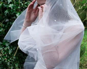 Quirky veil with silver sequin stars cascading over ivory tulle