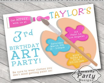 Art Birthday Party Invitations Invite Printable Personalized Paint Customized 5x7 or 4x6