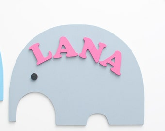 Kids name plate - Unique baby gift - Wall name plaque - Kids door sign - Gift for newborn baby girl- Elephant shape- Nursery name decor Wood