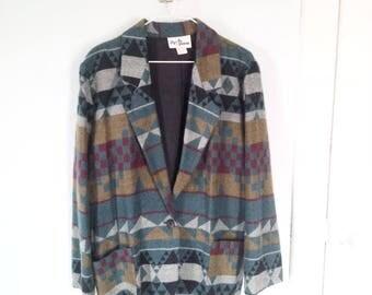 90s Southwestern Jacket/Blazer Tribal Print  Oversized Size Medium/Large