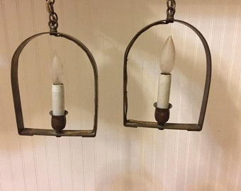 HANGING BRASS PENDANTS/Pair with Candles/Traditional Lighting/Swinging Brass Candelabra Pendants at Ageless Alchemy
