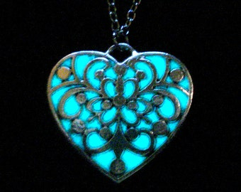 Blue Heart Necklace Glowing Heart Jewelry Glow In The Dark Antique Silver (glows aqua blue)