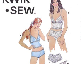Women's Lingerie Sewing Pattern - Camisole Boy shorts Thong Stretch lace - Kwik Sew 3167 Size XS S M Large Bust 31 32 34 35 37 38 40 41