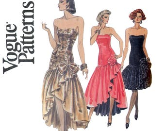 Waterfall Skirt Formal Gown Pattern - Vogue 7644 Size 12 14 16 Bust 34 36 38 - Boning, Lining, Sleeveless Full Skirt UNCUT