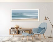 Large Abstract Beach Art, Ocean Panorama Photo Print, Panoramic Seascape Photography, Cape Cod Picture, Nautical Decor Teal Blue Beige White