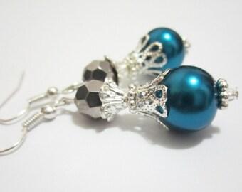 Victorian Vintage Earrings Bridal Earrings Pearl and Crystal Earrings Teal Blue Pearl Earrings Bridesmaid Gift Wedding Jewelry Gift