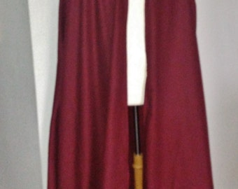 Burgundy Wool Full Cloak with Silver Clasp