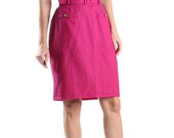 Vintage Pink Wool Pencil Skirt Belted Midi Skirt Fuchsia Gold Details Mad Men Skirt 60s 70s / Womens Size US 4-6 UK 8-10 EU 36-38