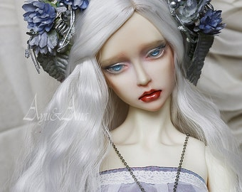 Blue Laurent flower handmade headband wreath corolla for bjd dollfie sd 8-10 inch size dolls heads
