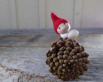 Felted baby in a shell