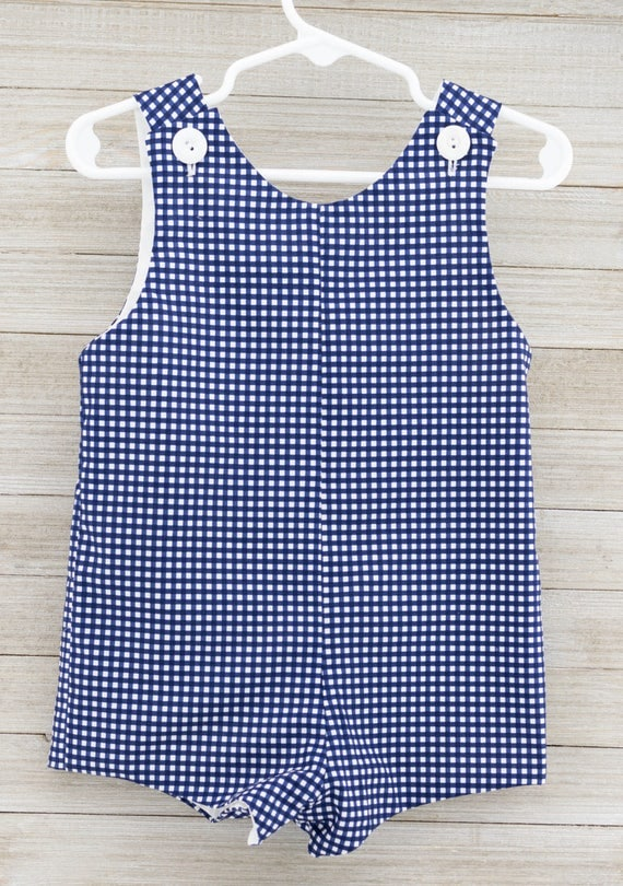 Custom made Blue Gingham Jon Jon/ Romper. This outfit is perfect for beach photos, or just summer/spring fun!