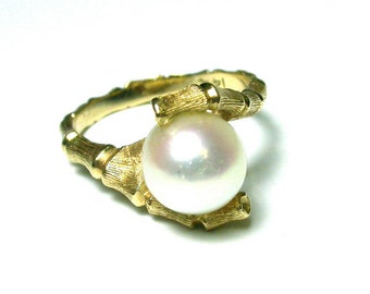 14k Yellow Gold Pearl Ring - Bamboo Design - Size 5 1/2 - Weight 3.7 Grams # 947