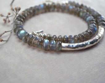 Labradorite Wrap Bracelet, Labradorite Bracelet, Blue Labradorite, Thai Silver Tube Bracelet, Silver Wrap Bracelet, Grey Gemstone Bracelet