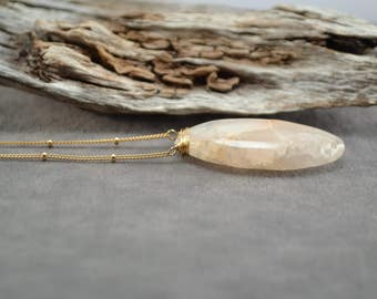 Gold Filled Necklace, Gold Necklace, Long Gold Necklace, Quartz Necklace, Natural Quartz Pendant, Crystal Quartz Necklace