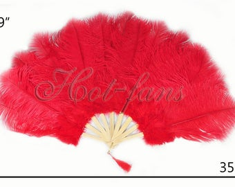 """19""""x 35"""" junior size Red Marabou & Ostrich Feathers Hand Fan"""