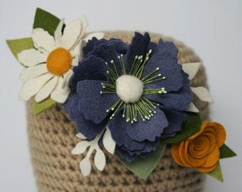 Felt Flower Headband // Adult, Child or Baby, Daisy, Poppy, Rose, Brooch, Hat or Coat Brooch Accessory, Fascinator