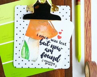 i once was lost but now am found amazing grace autumn inspired mushroom / set of 6 journaling / bible journaling cards